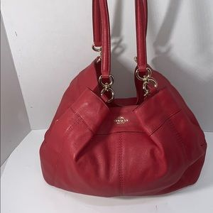 Beautiful Red Leather Coach Shoulder Bag
